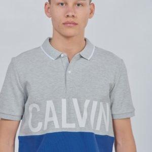 Calvin Klein Pique Calvin Chest Regular Polo Pikee Harmaa