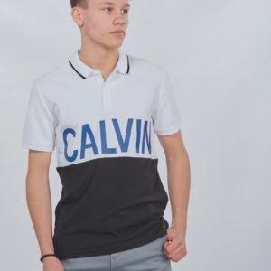 Calvin Klein Pique Calvin Chest Regular Polo Pikee Valkoinen