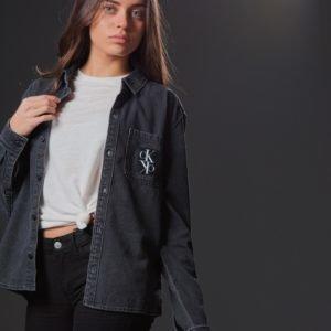 Calvin Klein Shirt Boys Grey Black Kauluspaita Harmaa