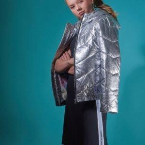 Calvin Klein Silver Light Hood Bomber Girl Takki Harmaa
