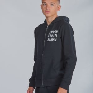 Calvin Klein Soft Logo Zip Hoodie Huppari Musta