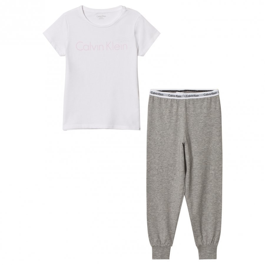 Calvin Klein White Branded Tee Sweat Pants Set Yöpuku