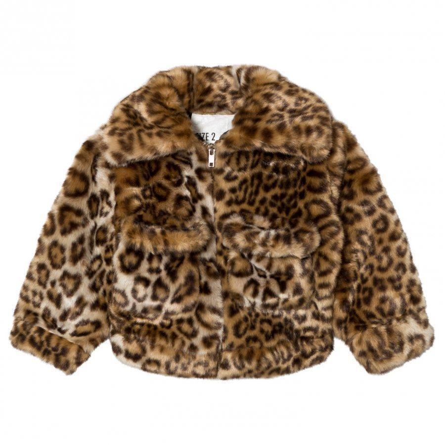 Caroline Bosmans Fake Fur Jacket Leopard Turkis