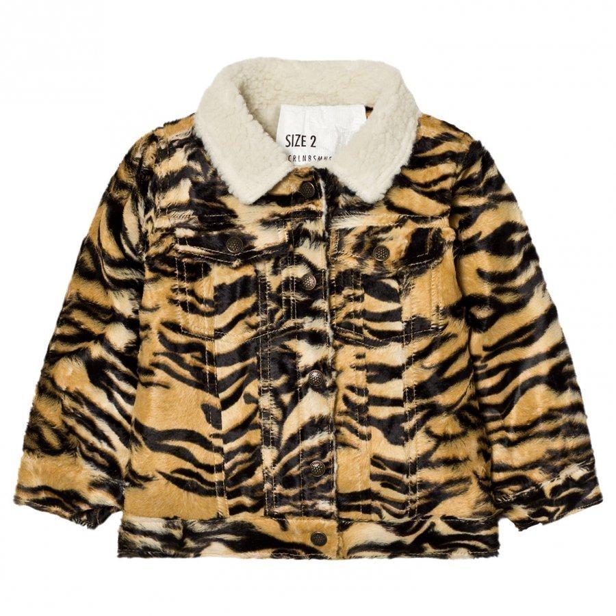 Caroline Bosmans Furry Jacket Tiger Turkis