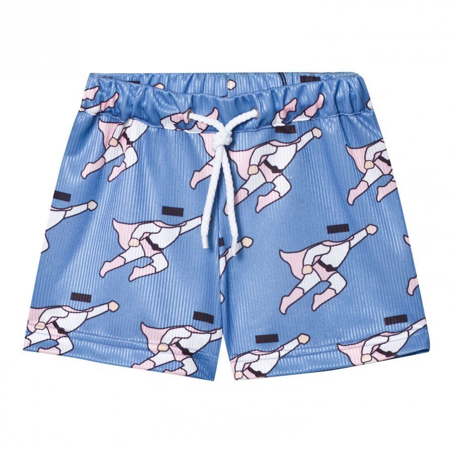 Caroline Bosmans Peace For President Shiny Wide Shorts Superman Blue Oloasun Shortsit