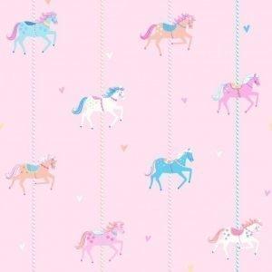 Carousel Tapetti Hevoset Vaaleanpunainen