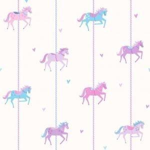 Carousel Tapetti Hevoset Violetti