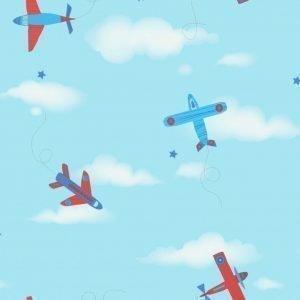 Carousel Tapetti Lentokoneet Sininen