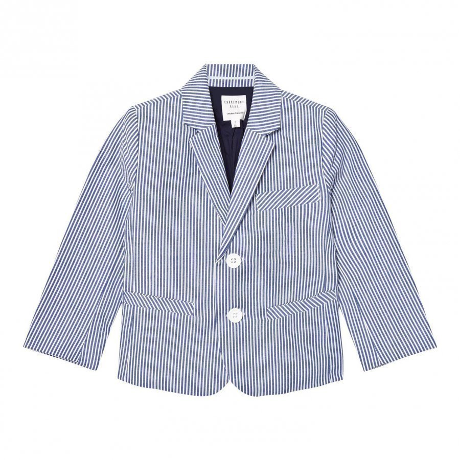 Carrément Beau Blue And White Stripe Cotton Jacket Bleiseri