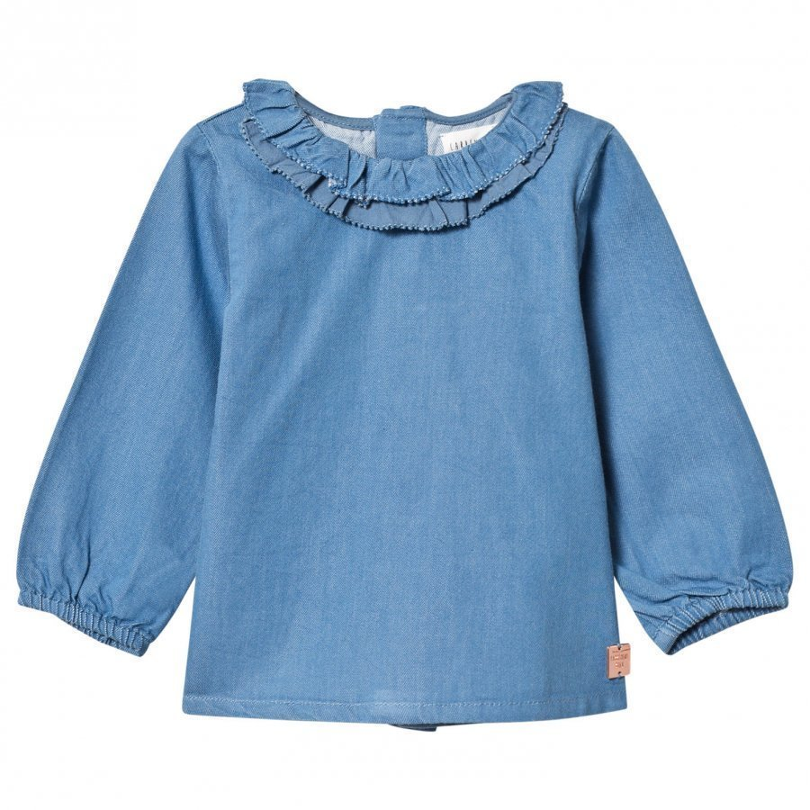 Carrément Beau Blue Chambray Frill Blouse Pusero