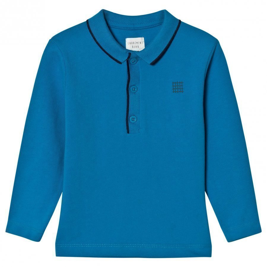 Carrément Beau Blue Long Sleeve Pique Polo Shirt Pikeepaita