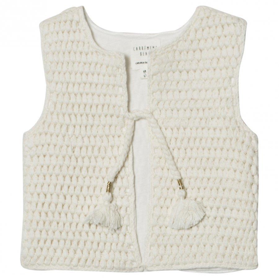 Carrément Beau Cream Knit Vest Tassle Detail Toppaliivi