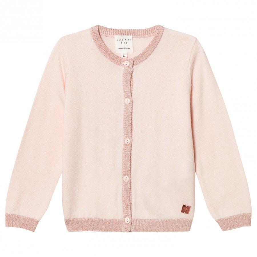 Carrément Beau Cream Lurex Rib Knit Cardigan Neuletakki