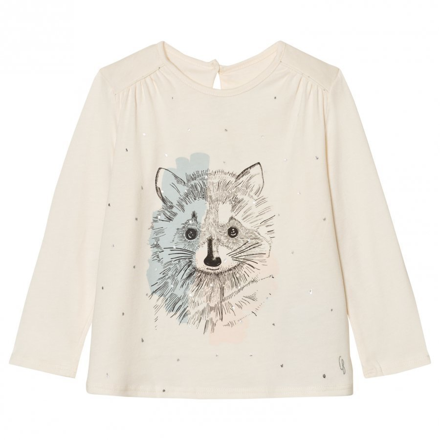Carrément Beau Cream Racoon Illustration Print Tee T-Paita