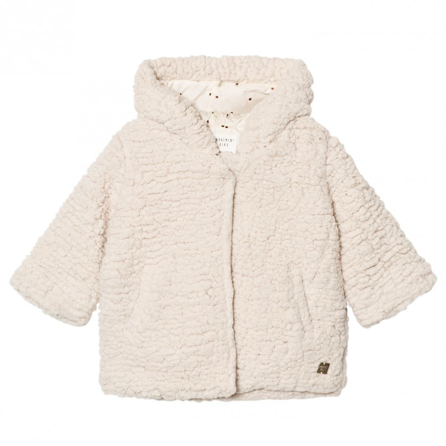 Carrément Beau Cream Teddy Fleece Hooded Jacket Turkis