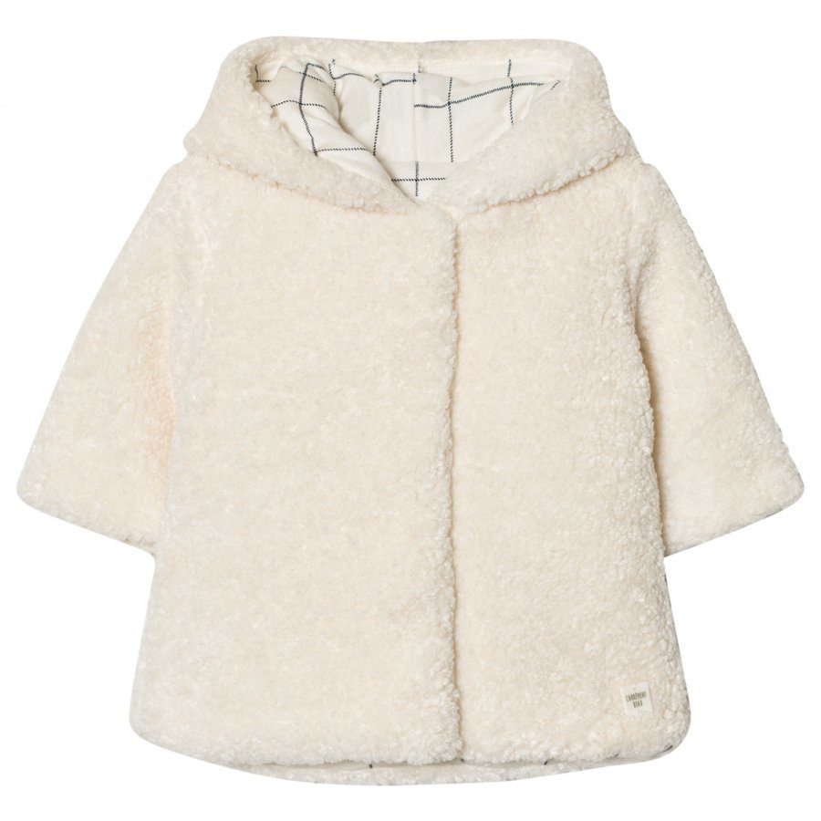 Carrément Beau Cream Teddy Hooded Jacket Turkis