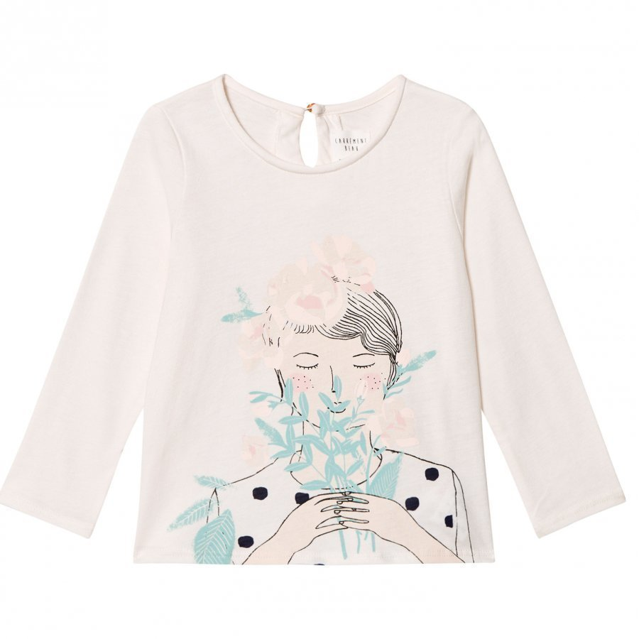 Carrément Beau Girl Flowers Print Tee Cream T-Paita