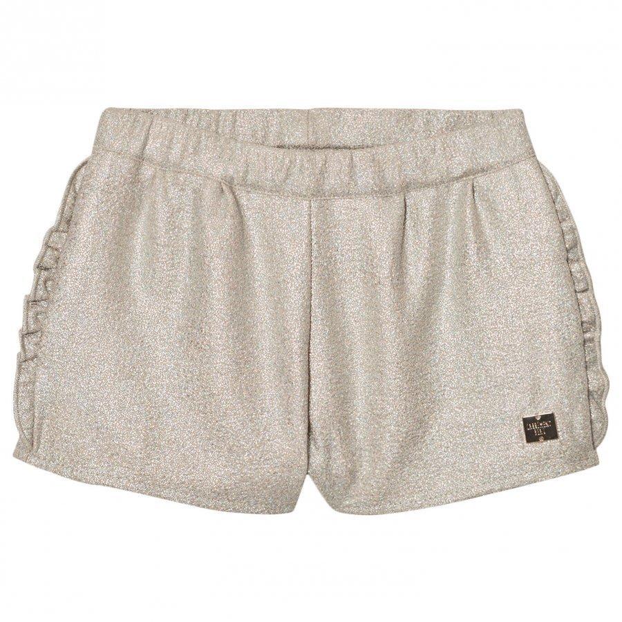 Carrément Beau Gold Lurex Frill Detail Shorts Juhlashortsit