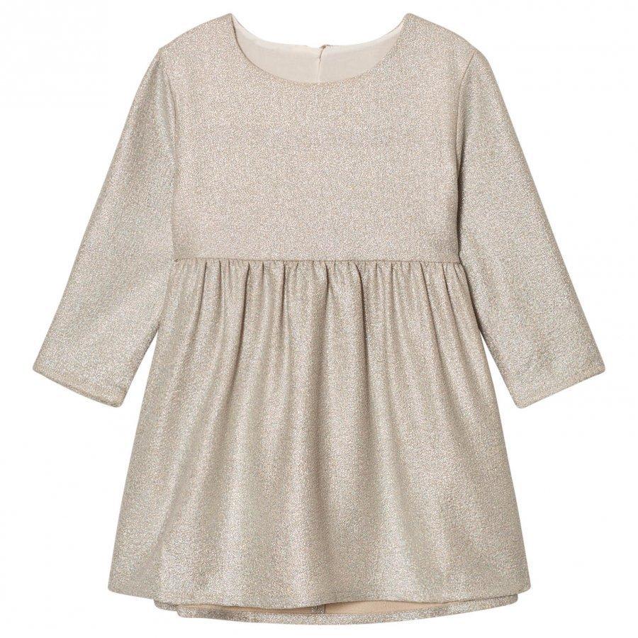 Carrément Beau Gold Lurex Long Sleeve Dress Mekko