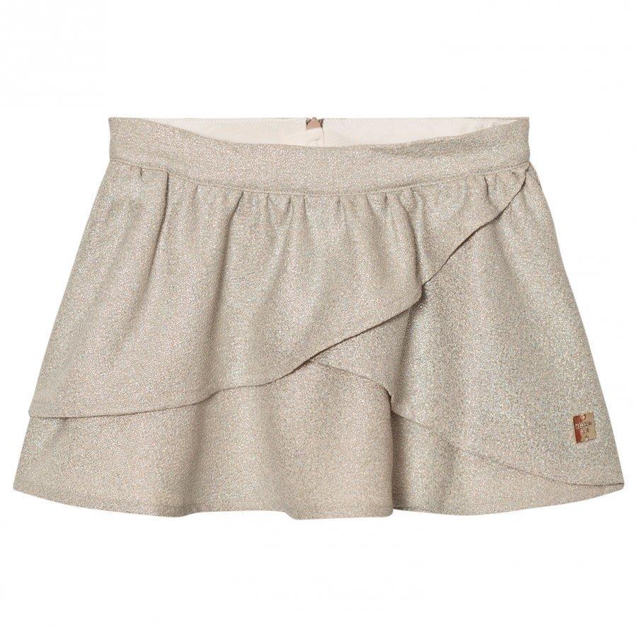 Carrément Beau Gold Lurex Wrap Front Skirt Hame