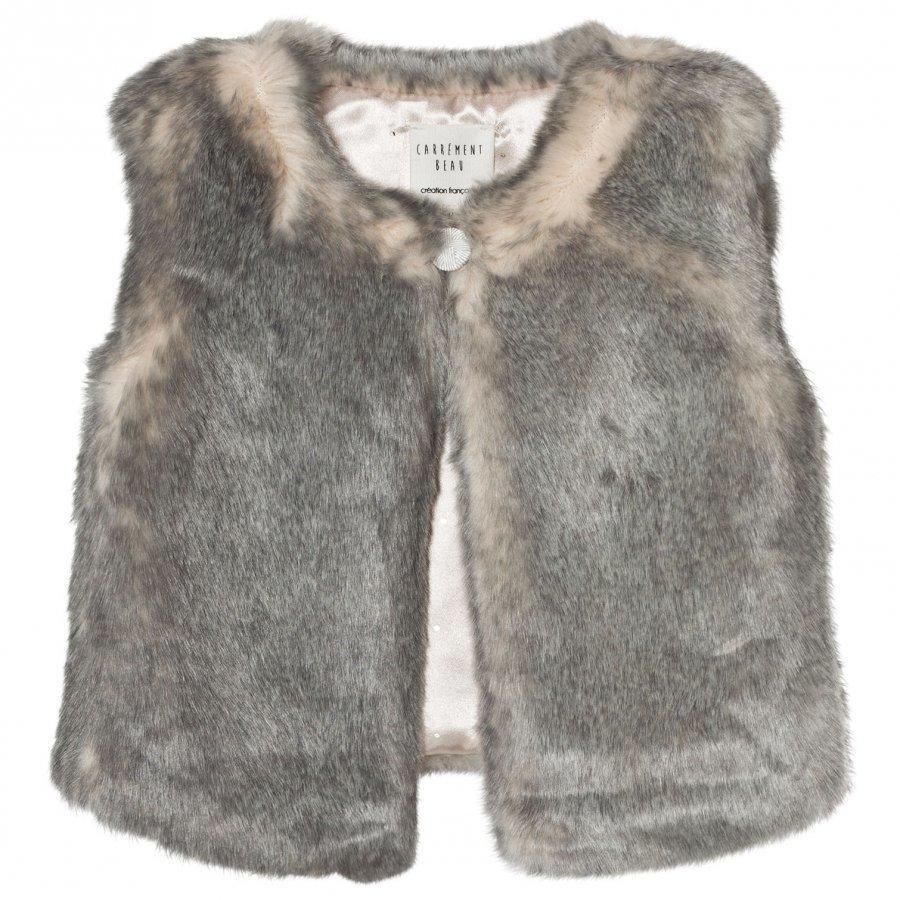 Carrément Beau Grey Faux Fur Vest Toppaliivi