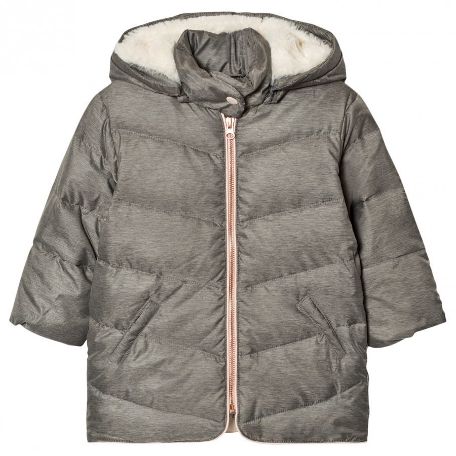 Carrément Beau Grey Hooded Puffer Coat Toppatakki