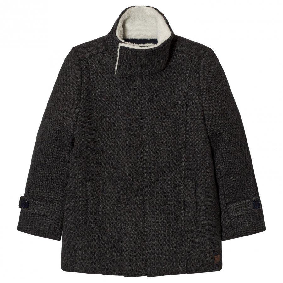 Carrément Beau Grey Wool Coat Teddy Collar Talvitakki