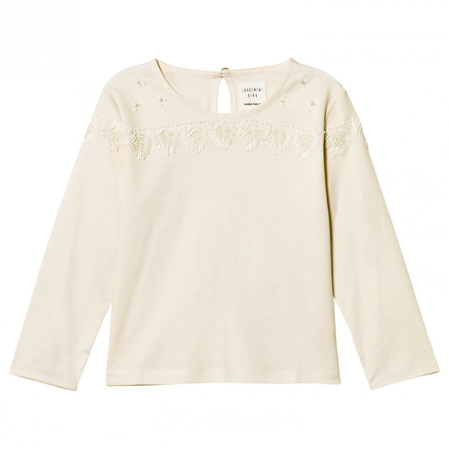 Carrément Beau Ivory Beaded Detail Top T-Paita
