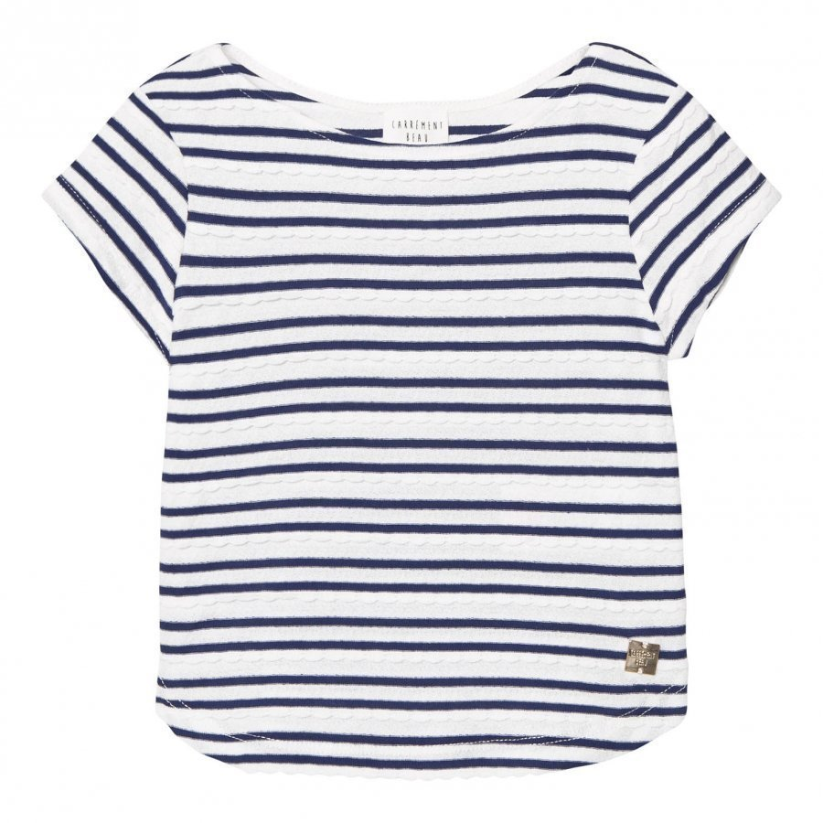 Carrément Beau Navy And White Stripe Scallop Tee T-Paita