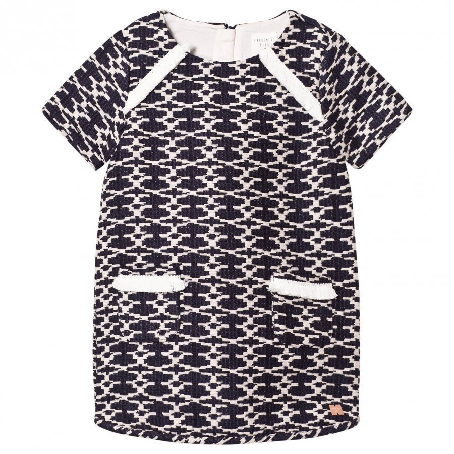 Carrément Beau Navy And White Woven Dress Mekko