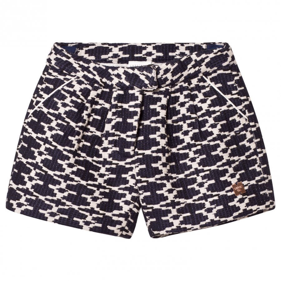 Carrément Beau Navy And White Woven Shorts Juhlashortsit