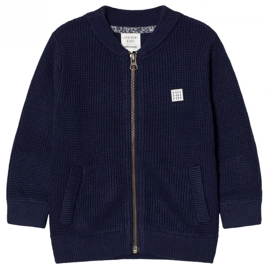 Carrément Beau Navy Rib Knit Zip Jacket Bomber Takki