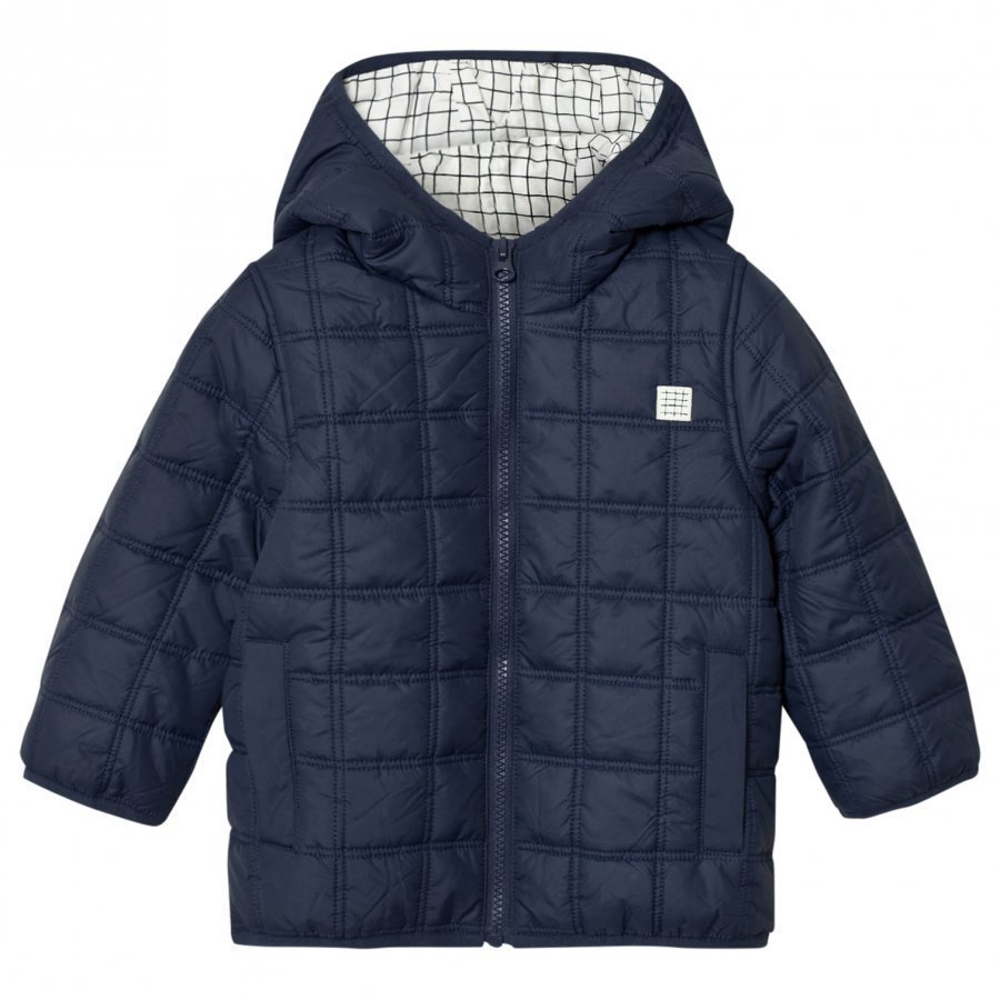 Carrément Beau Navy Square-Quilted Puffer Jacket Toppatakki