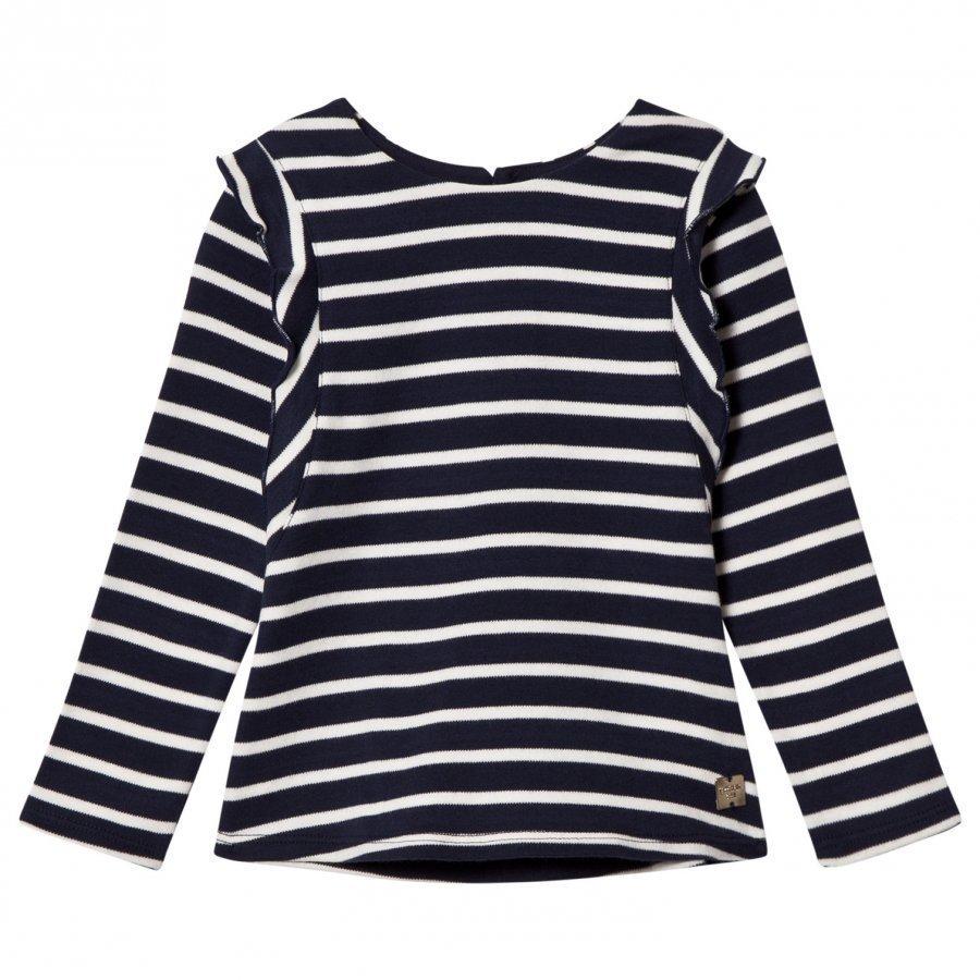 Carrément Beau Navy Stripe Frill Shoulder Tee T-Paita