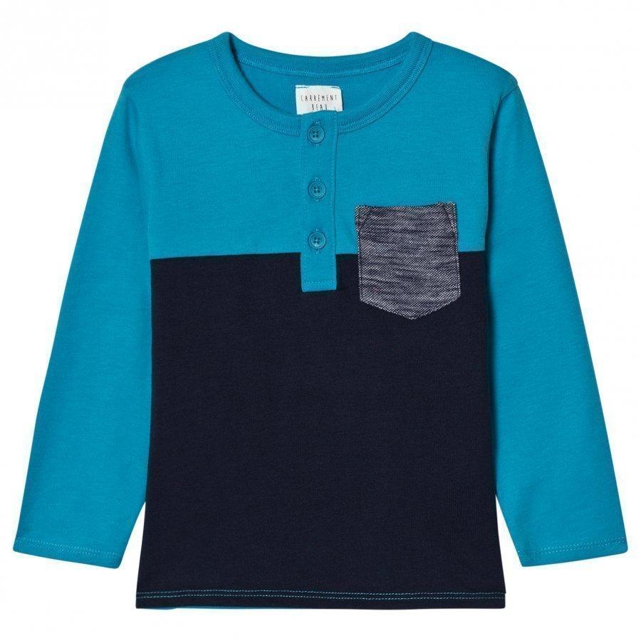 Carrément Beau Navy/Blue Long Sleeve Henley Tee T-Paita
