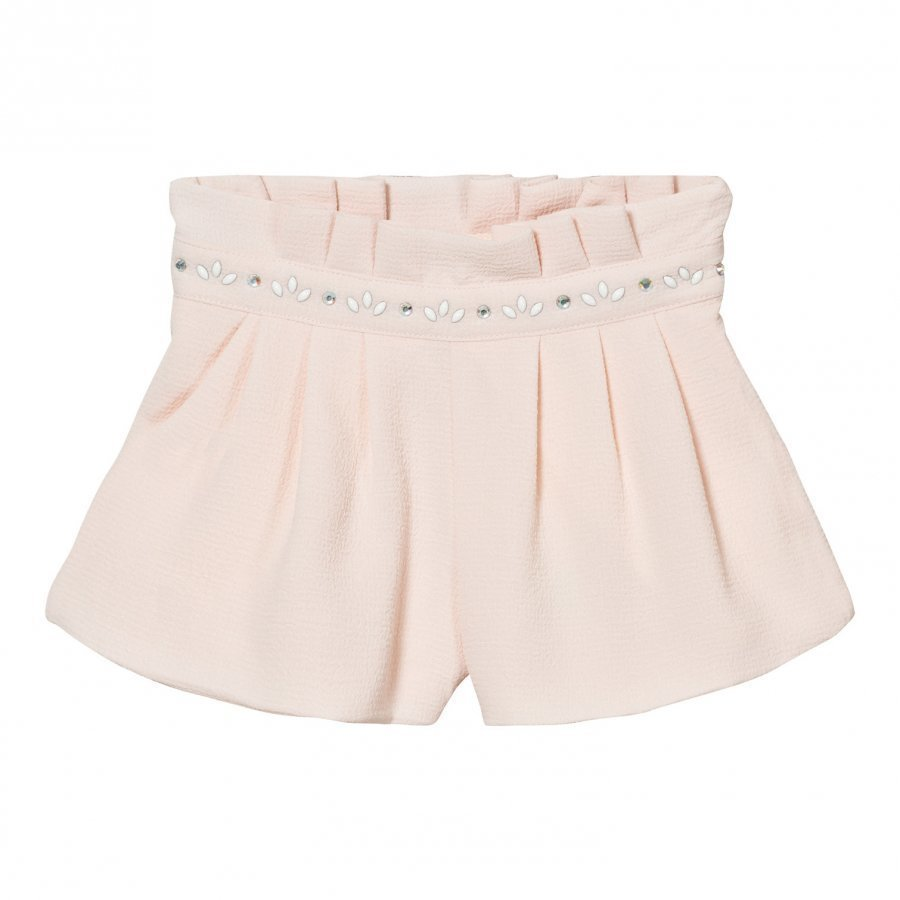Carrément Beau Pale Pink Crepe Shorts With Jewelled Waistband Lyhyt Hame