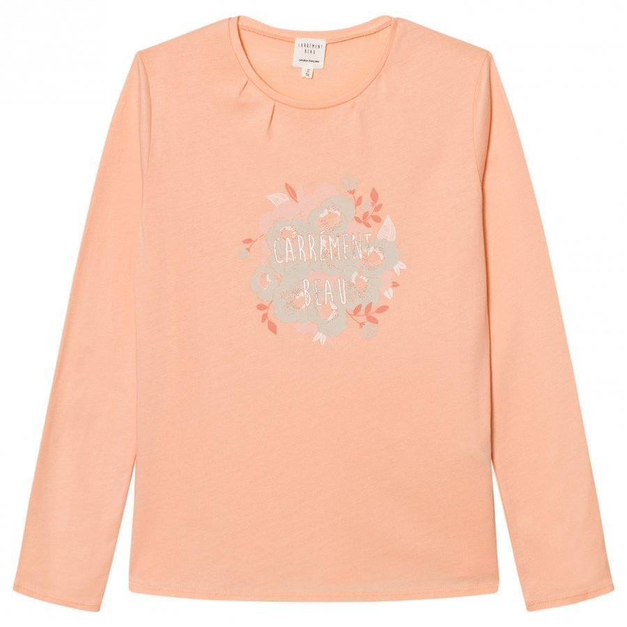 Carrément Beau Pink Floral Branded Long Sleeve Tee T-Paita