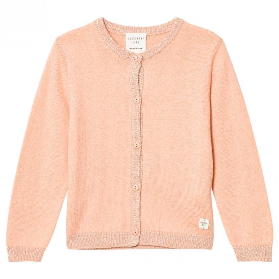 Carrément Beau Pink Lurex Rib Knit Cardigan Neuletakki