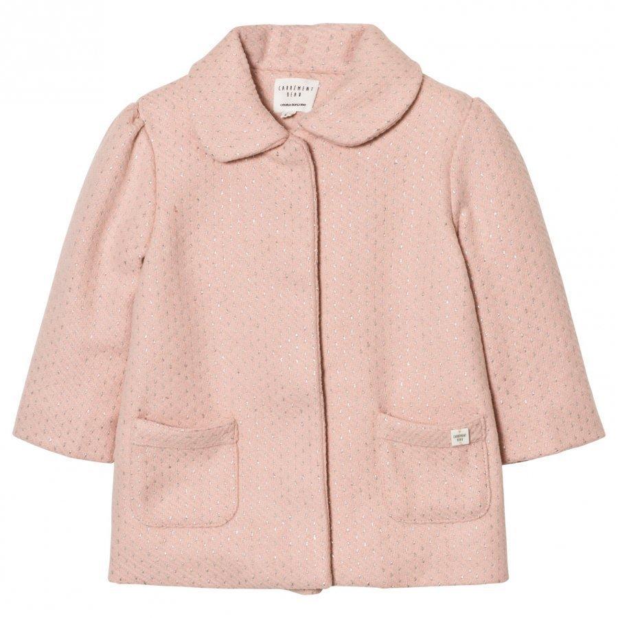 Carrément Beau Pink Lurex Woven Coat Talvitakki