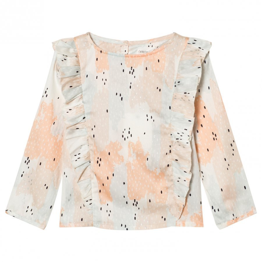 Carrément Beau Pink Patterned Frill Front Blouse Pusero