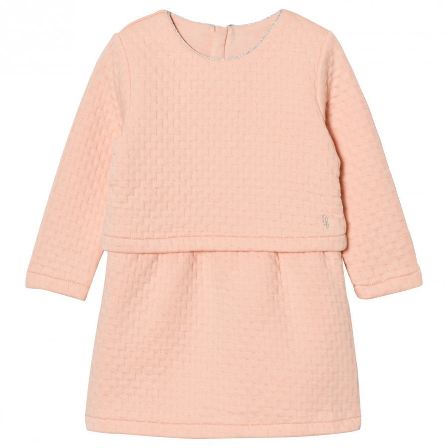 Carrément Beau Pink Quilted Long Sleeve Dress Juhlamekko