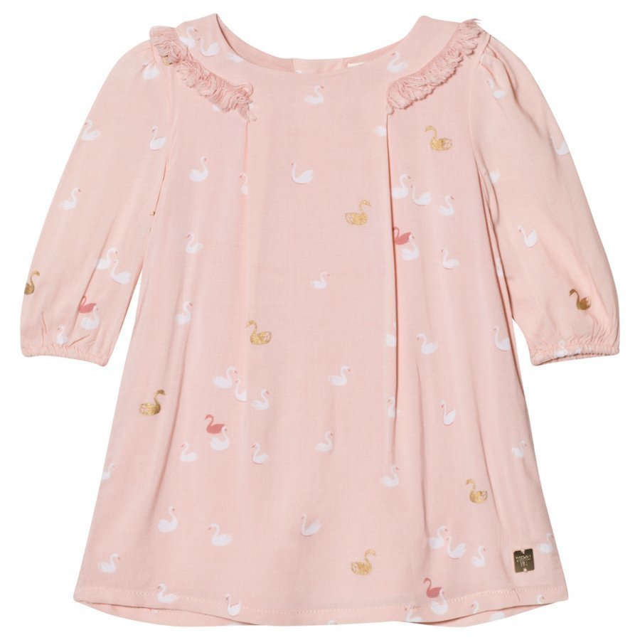 Carrément Beau Pink Swan Print Frill Collar Dress Mekko