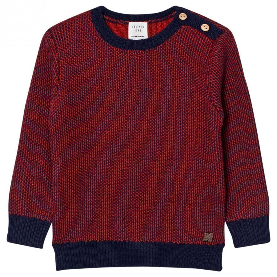 Carrément Beau Red Navy Knit Sweater Paita
