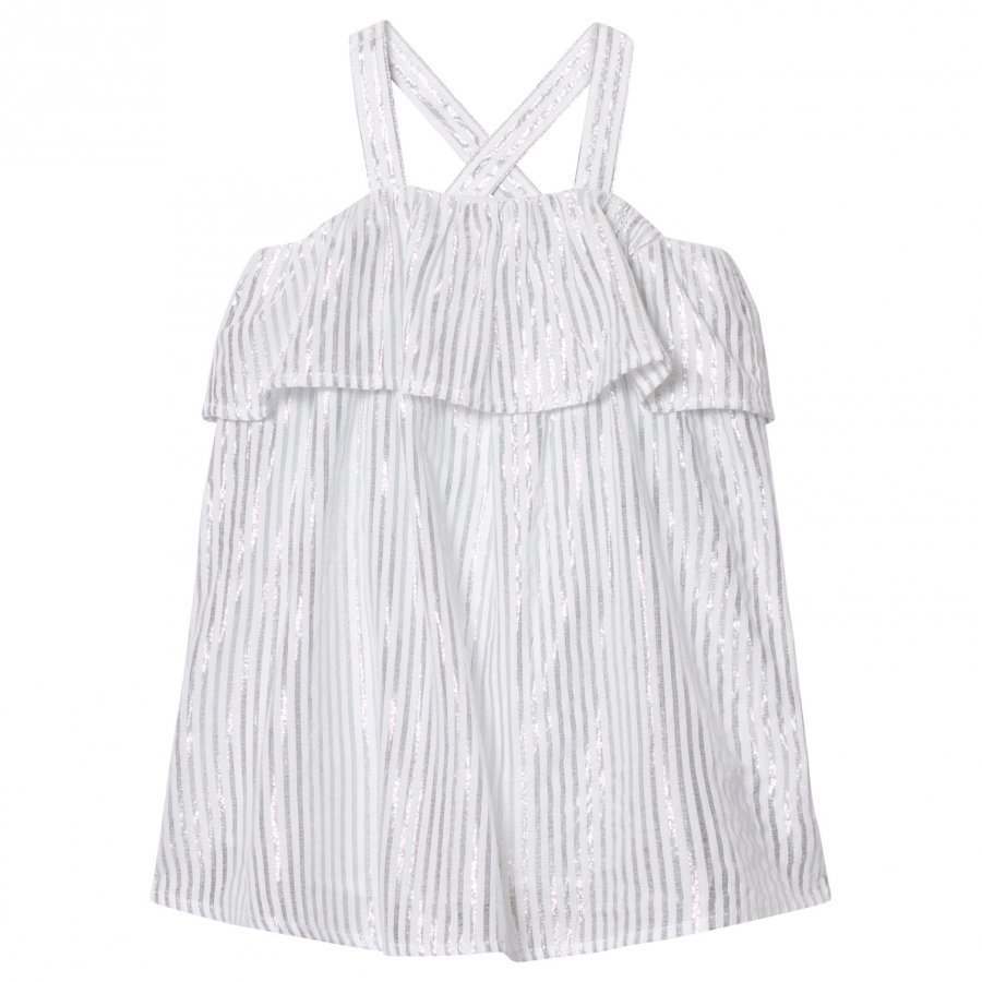 Carrément Beau Silver Lurex Frill Dress Juhlamekko