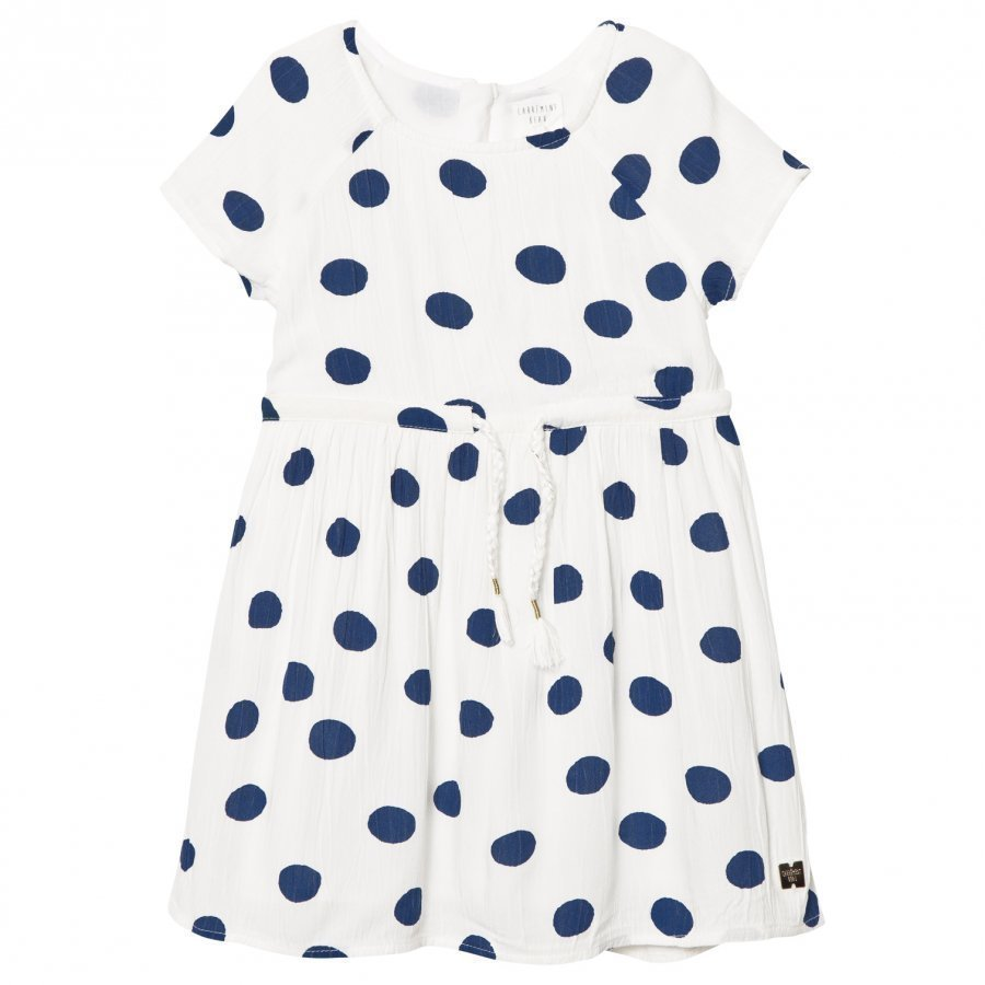Carrément Beau White And Blue Spot Dress Juhlamekko