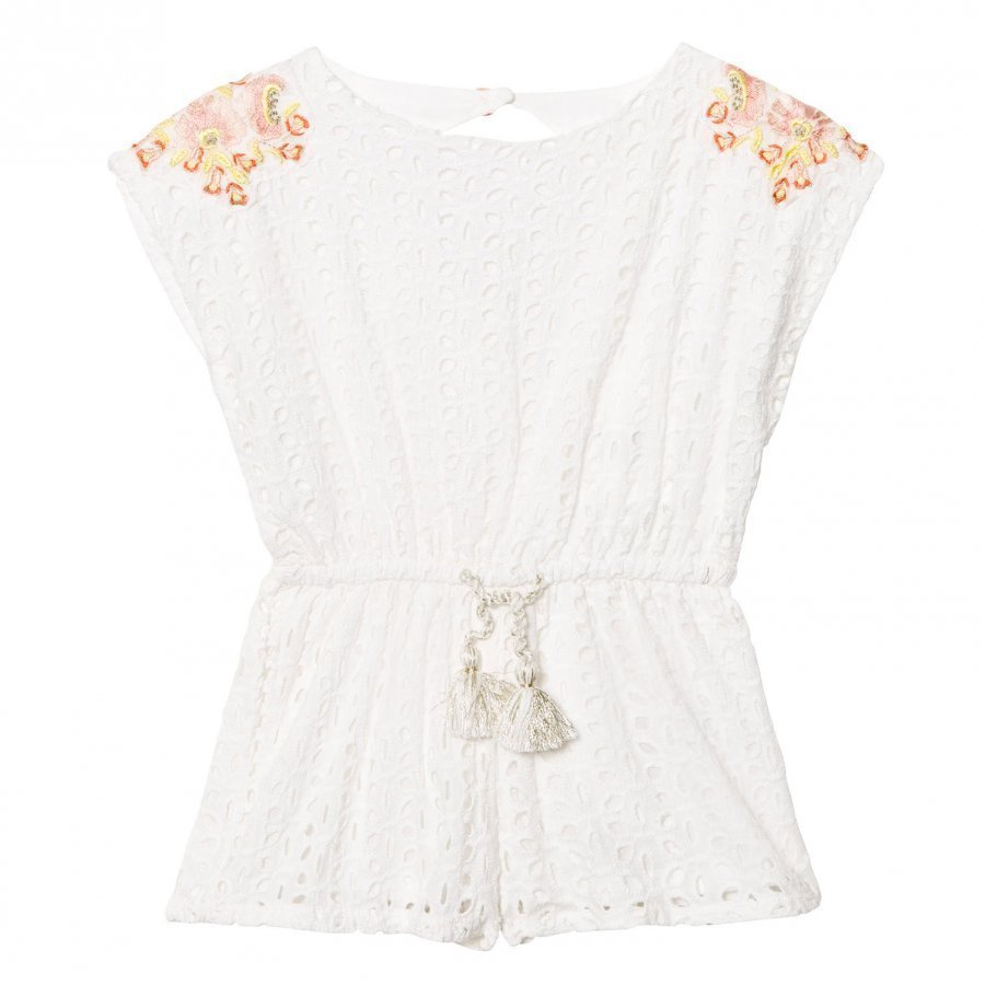 Carrément Beau White Broderie Anglaise Playsuit With Floral Embroidery Potkupuku