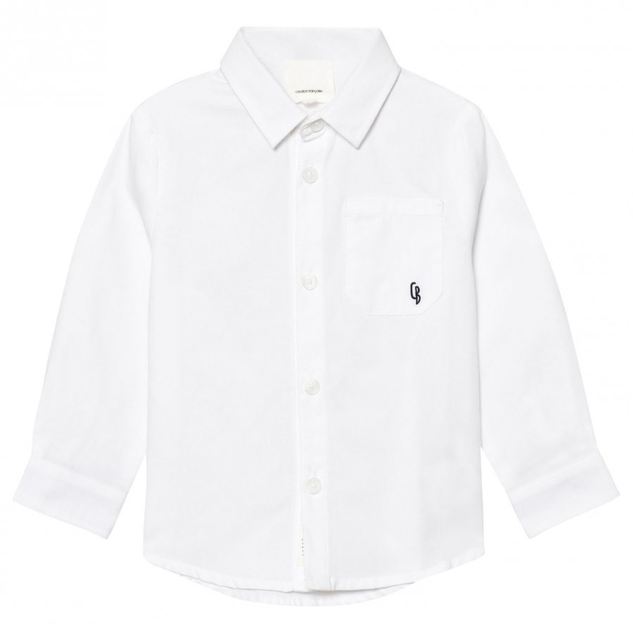 Carrément Beau White Classic Shirt With Check Turn Ups Kauluspaita