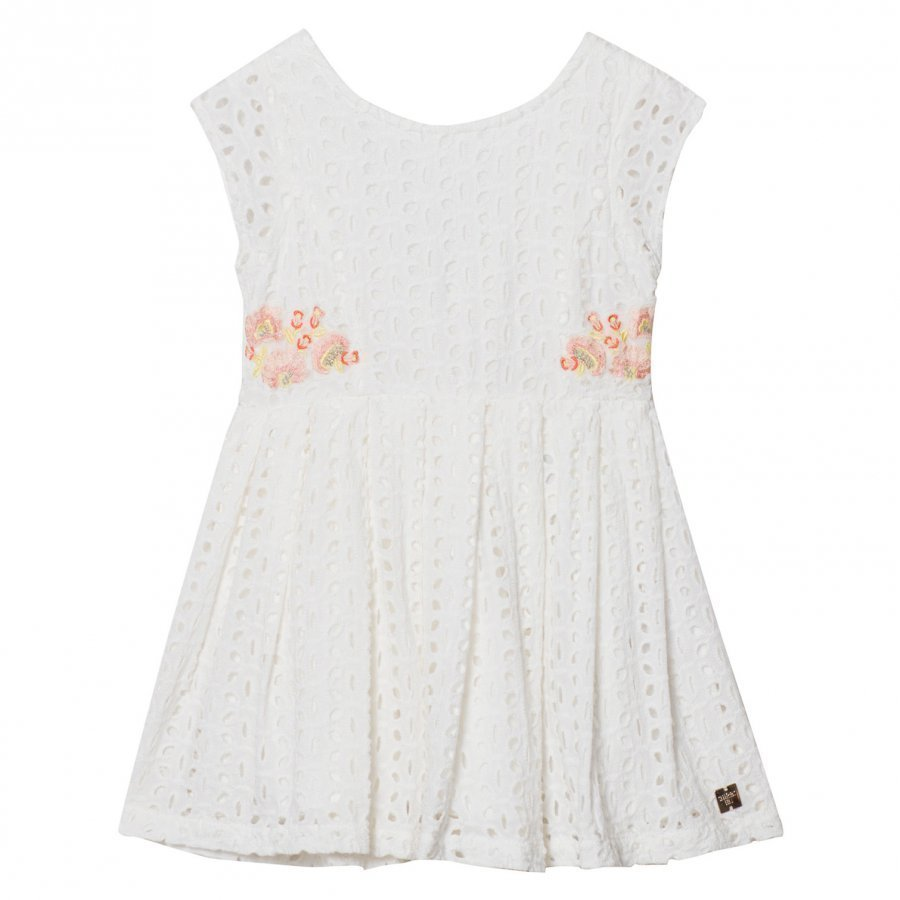 Carrément Beau White Cotton Broderie Anglaise Embroidered Flower Dress Juhlamekko
