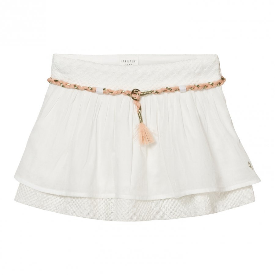 Carrément Beau White Cotton Voile Skirt With Plaited Waistband Lyhyt Hame