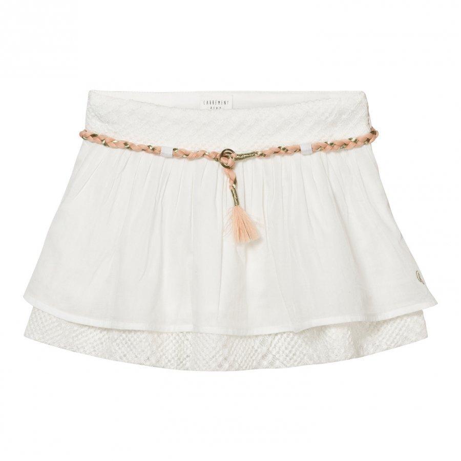 Carrément Beau White Cotton Voile Skirt With Plaited Waistband Lyhyt Hame